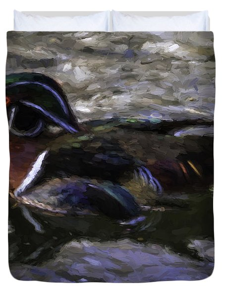 Wood Duck Swim Duvet Cover by Ken Frischkorn