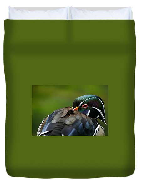 Wood Duck Upclose Duvet Cover by Karol Livote