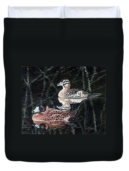 Duvet Cover featuring the painting Wood Ducks Study by Donna Tucker