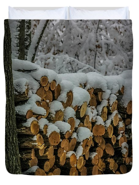 Wood Pile Duvet Cover