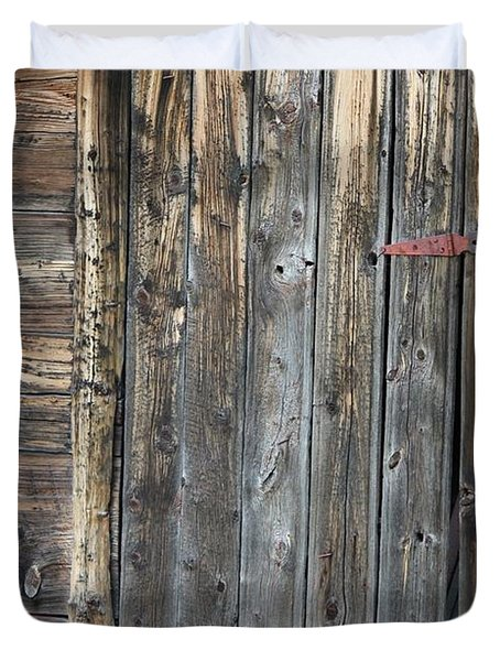 Duvet Cover featuring the photograph Wood Shed Door by Ann E Robson