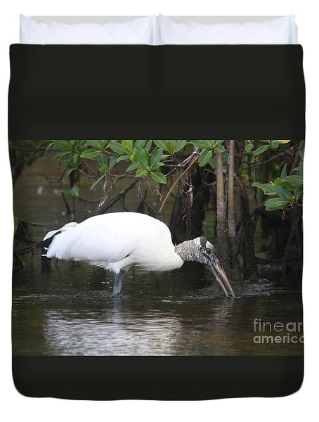 Duvet Cover featuring the photograph Wood Stork In The Swamp by Christiane Schulze Art And Photography