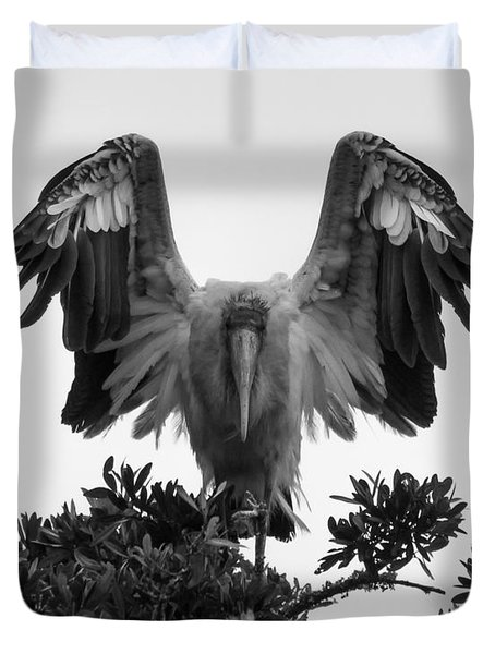 Wood Stork Spread Duvet Cover