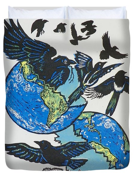 Woodcut Cover Illustration For Corvidae - Poems By Bj Buckley Duvet Cover by Dawn Senior-Trask