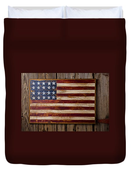 Wooden American Flag On Wood Wall Duvet Cover by Garry Gay