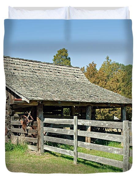 Duvet Cover featuring the photograph Wooden Barn by Charles Beeler