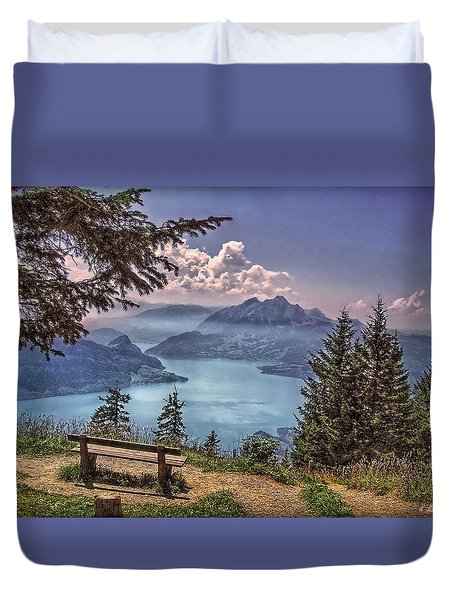 Wooden Bench Duvet Cover by Hanny Heim