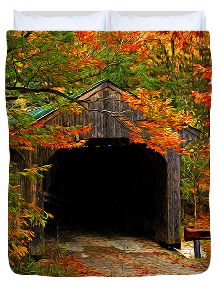 Duvet Cover featuring the photograph Wooden Bridge by Bill Howard