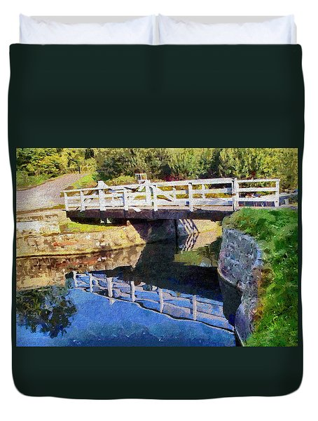 Duvet Cover featuring the digital art Wooden Bridge by Paul Gulliver