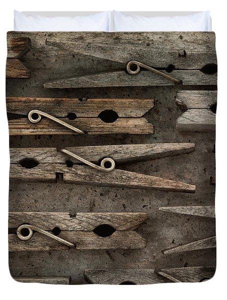 Wooden Clothespins Duvet Cover