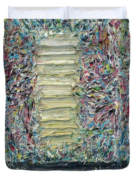 Wooden Door In The Garden Duvet Cover by Fabrizio Cassetta