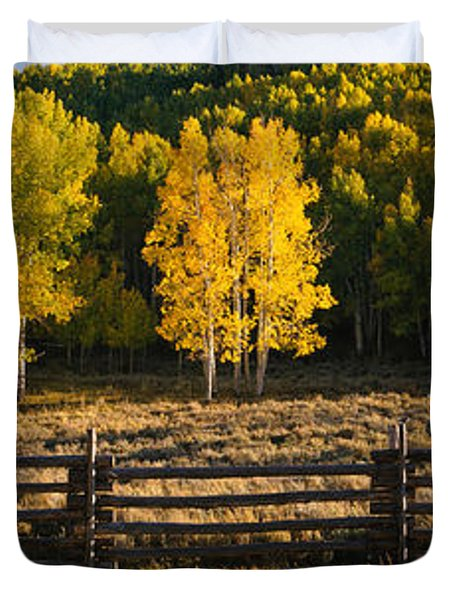 Wooden Fence And Aspen Trees Duvet Cover