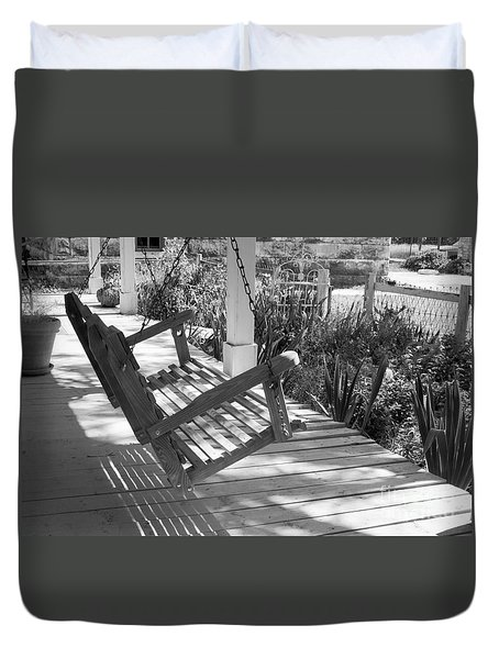 Wooden Front Porch Swing Duvet Cover
