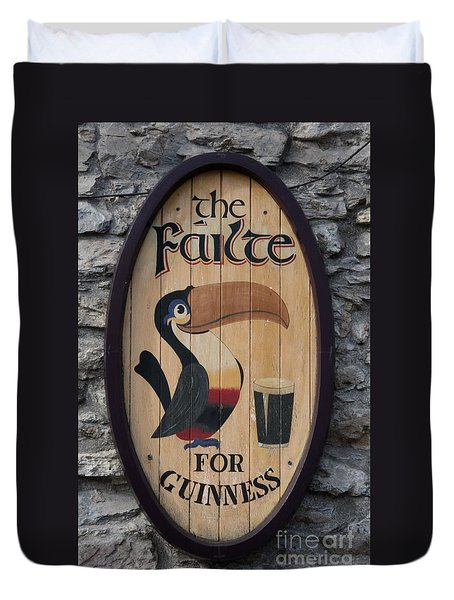 Wooden Guinness Sign Duvet Cover by Christiane Schulze Art And Photography