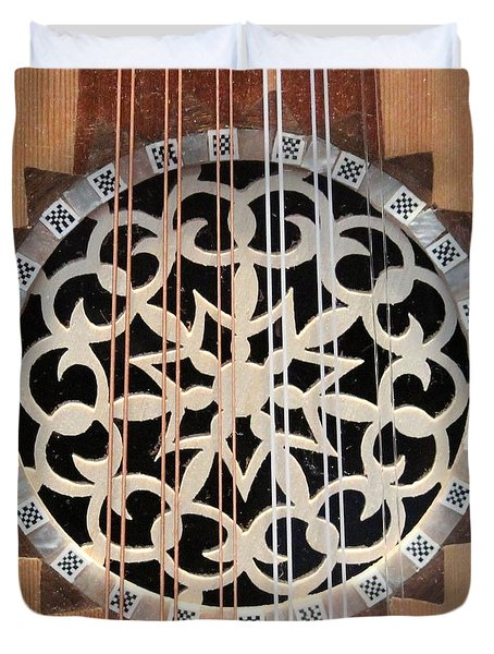 Wooden Guitar Inlay With Strings Duvet Cover
