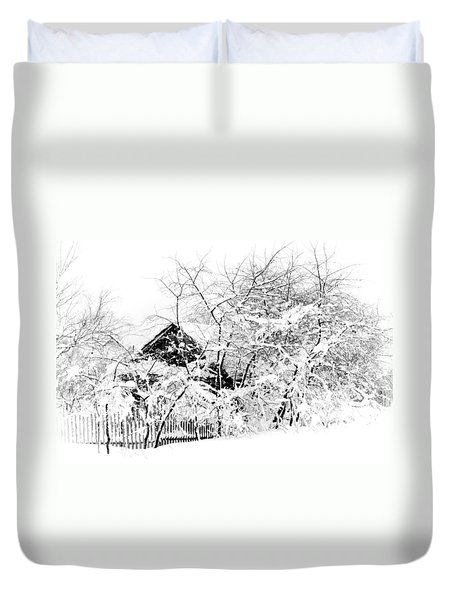 Wooden House After Heavy Snowfall. Russia Duvet Cover