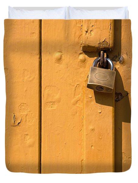 Wooden Plank Door Steel Lock Duvet Cover