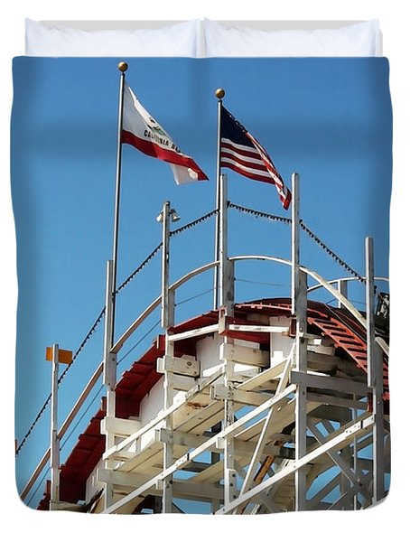 Duvet Cover featuring the photograph Wooden Roller Coaster by Art Block Collections