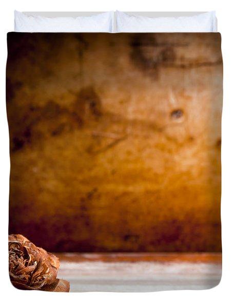 Wooden Rose Background Duvet Cover by Tim Hester