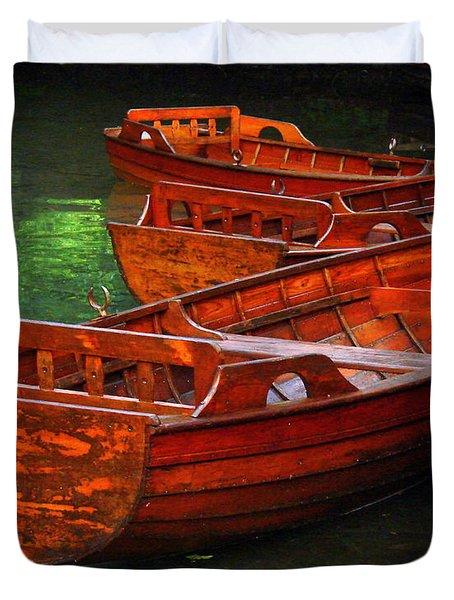 Wooden Rowboats Duvet Cover by Ramona Johnston