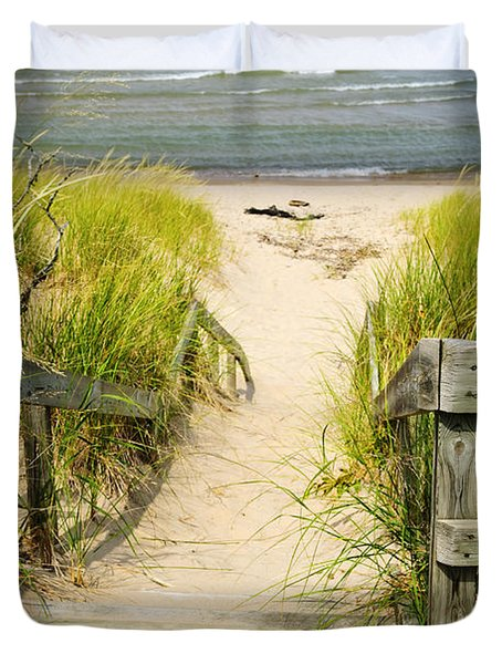 Wooden Stairs Over Dunes At Beach Duvet Cover