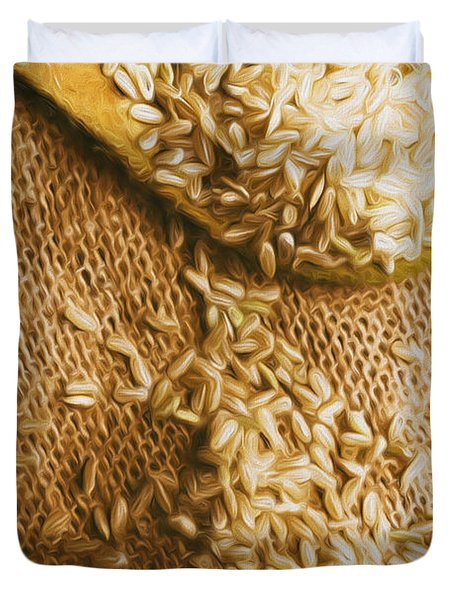 Wooden Tablespoon Serving Of Uncooked Brown Rice Duvet Cover