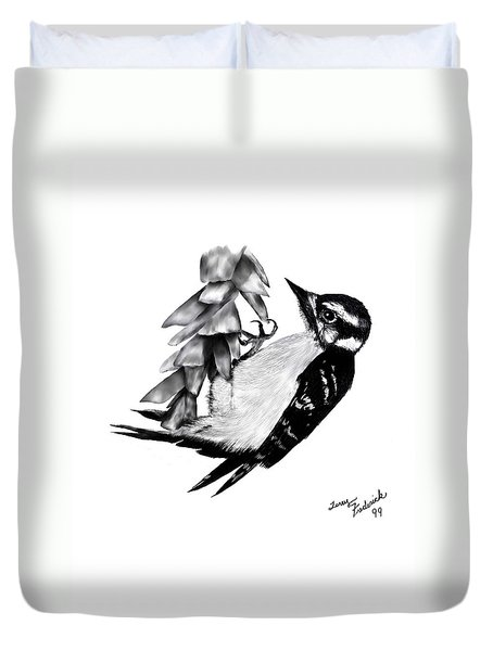 Woodpecker Duvet Cover by Terry Frederick