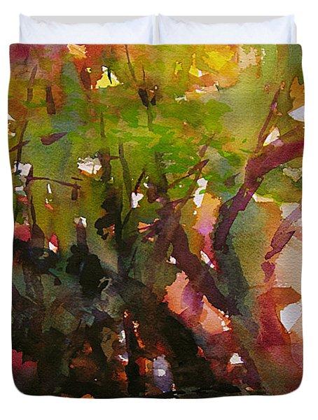 Woods And Creek Watercolor Duvet Cover by Julianne Felton