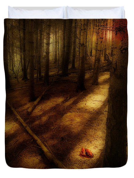 Duvet Cover featuring the photograph Woods With Pine Cones by Meirion Matthias