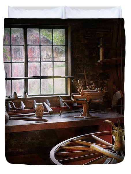 Woodworker - The Wheelwright Shop  Duvet Cover by Mike Savad