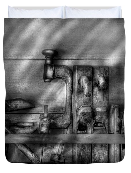 Woodworker - Wood Working Tools Duvet Cover by Mike Savad