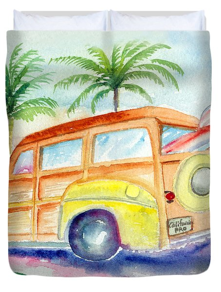 Duvet Cover featuring the painting Woody by Lynn Buettner