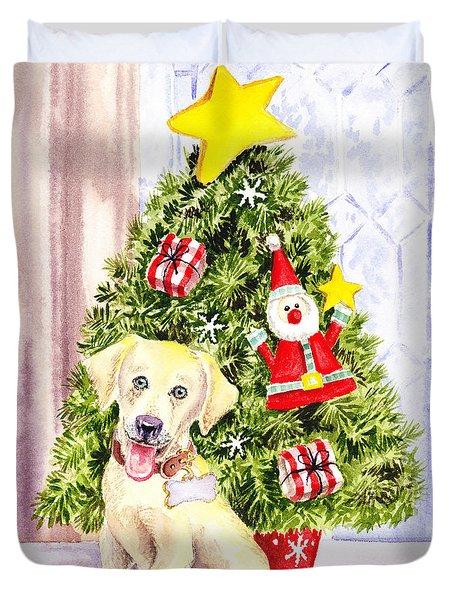 Woof Merry Christmas Duvet Cover by Irina Sztukowski