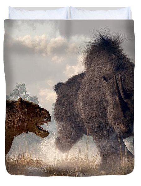 Duvet Cover featuring the digital art Woolly Rhino And Cave Lion by Daniel Eskridge