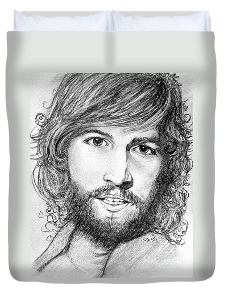Duvet Cover featuring the drawing Barry Gibb  by Patrice Torrillo