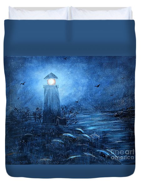 Working Night Shift In The Rain Duvet Cover by Barbara Griffin