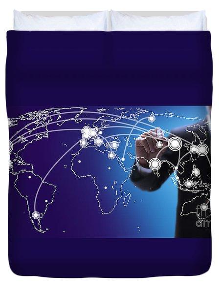 World Economies Map Duvet Cover by Atiketta Sangasaeng