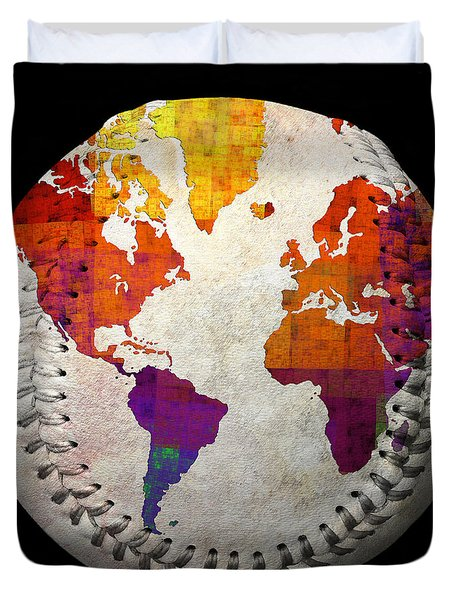 World Map - Rainbow Bliss Baseball Square Duvet Cover