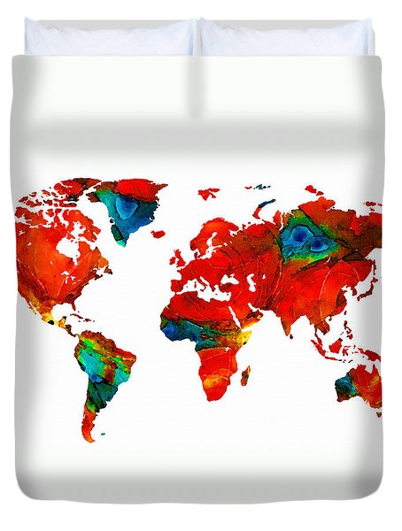 World Map 12 - Colorful Red Map By Sharon Cummings Duvet Cover by Sharon Cummings