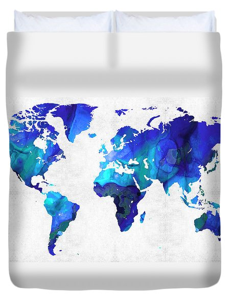 World Map 17 - Blue Art By Sharon Cummings Duvet Cover by Sharon Cummings