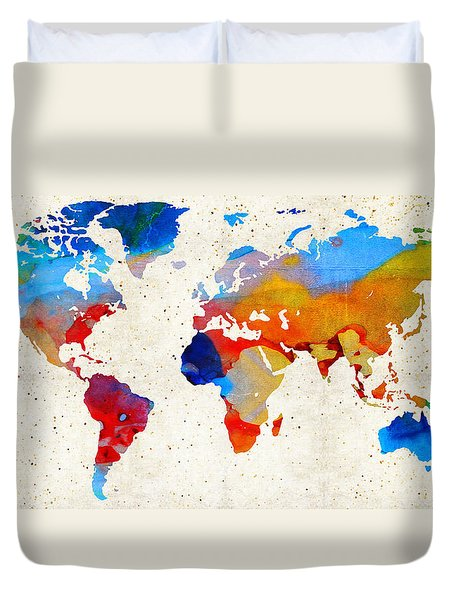 World Map 18 - Colorful Art By Sharon Cummings Duvet Cover by Sharon Cummings