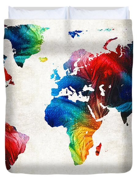 World Map 19 - Colorful Art By Sharon Cummings Duvet Cover