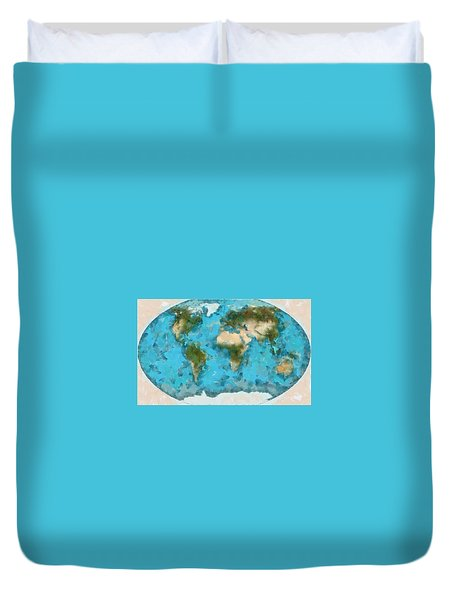 Duvet Cover featuring the painting World Map Cartography by Georgi Dimitrov