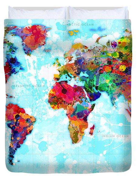 World Map Spattered Paint Duvet Cover