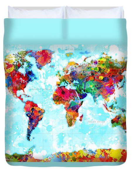 World Map Spattered Paint Duvet Cover