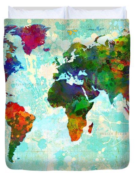 World Map Splatter Design Duvet Cover