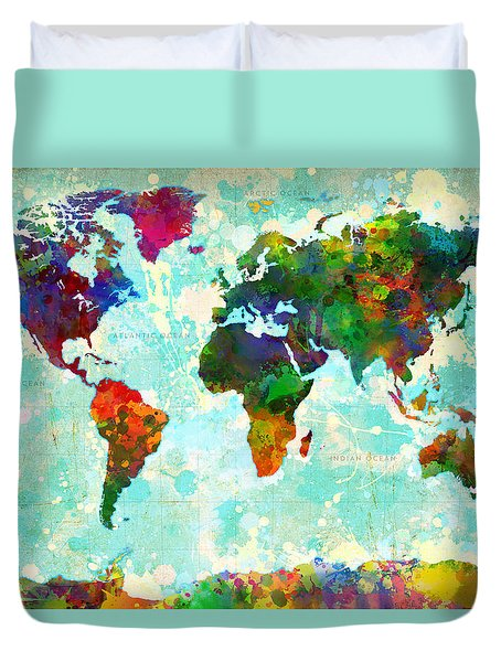 World Map Splatter Design Duvet Cover