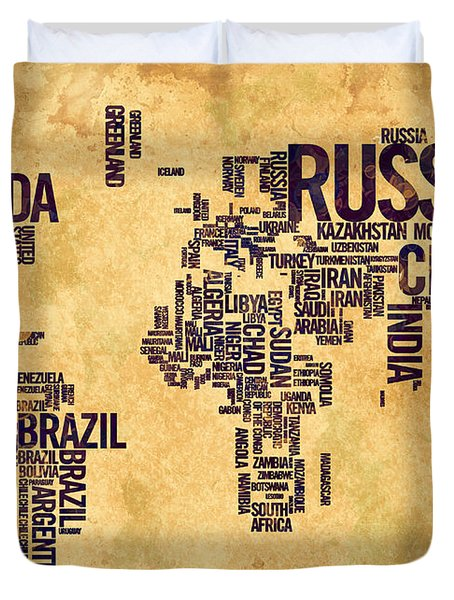 World Map Typography 6 Watercolor Painting Duvet Cover