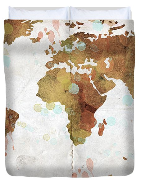 World Map Watercolor 3 Duvet Cover by Paulette B Wright