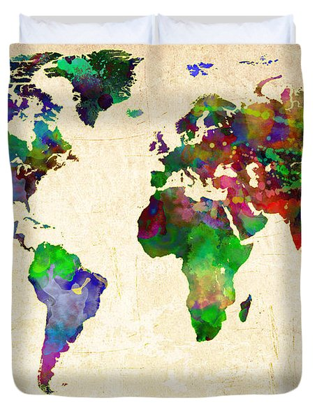 World Map Watercolor Duvet Cover